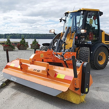 FMG open street sweeper and JCB